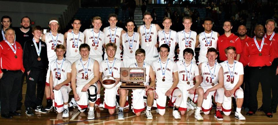 MLHS Boys BB Team with Class A 3rd Place Trophy