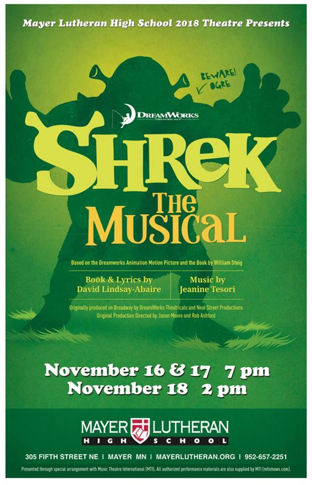 Shrek the Musical Is On Stage November 16-18 | Mayer Lutheran